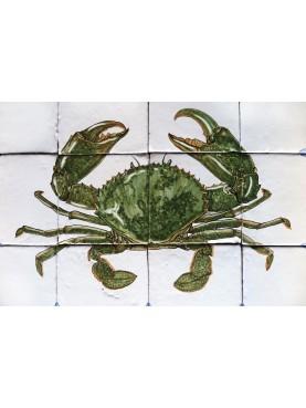 Green Crab majolica panel