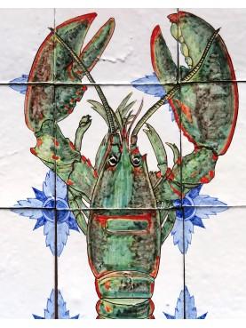 Green Lobster majolica panel