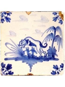 Piastrella in maiolica Delft Hannoversch - secondo cane