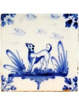 Piastrella in maiolica Delft Hannoversch - terzo cane