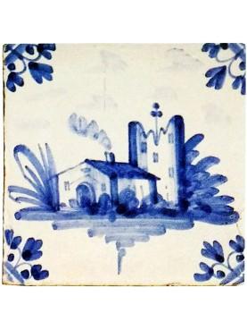 Piastrella in maiolica Delft Hannoversch - primo paesaggio