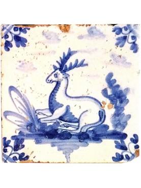 Piastrella in maiolica Delft Hannoversch - Cervo