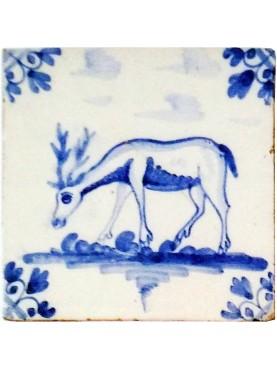 Piastrella in maiolica Delft Hannoversch - Daino