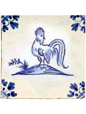 Delft Hannoversch majolica tiles - Cock