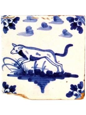 Piastrella in maiolica Delft Hannoversch - quarto cane