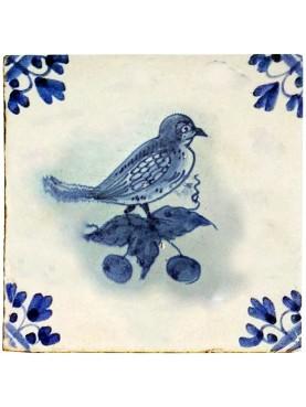Piastrella in maiolica Delft Hannoversch - Uccellino