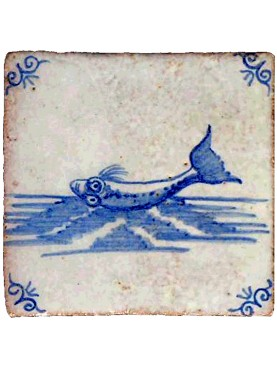 Delft Sea majolica tile