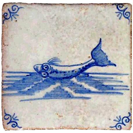 Piastrella di maiolica con scena marina di Delft