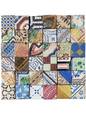 Purely indicative patchwork with old tiles in maiolica cutted 10x10 cms