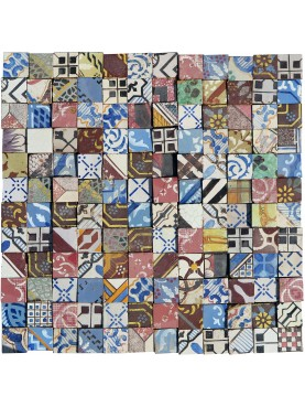 Purely indicative patchwork with old tiles in maiolica cutted 5x5 cms