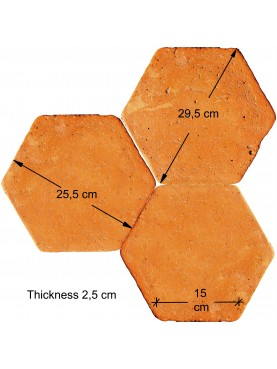 Red terracotta hexagons side 15 cm