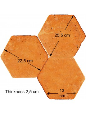 Red terracotta hexagons side 13 cm