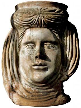Grande cachepot in terracotta femminile di Caltagirone
