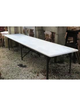 Enorme tavolo in marmo bianco di Carrara lungo 4 m - MORGUE