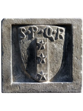 Great stone coat of arms with SPQR - Petroni family