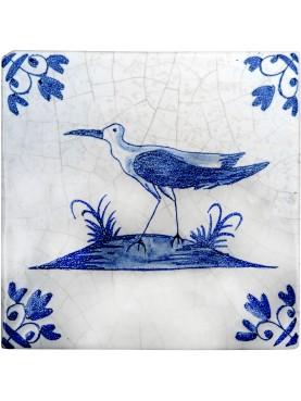 Delft Hannoversch majolica tiles - Black-winged stilt