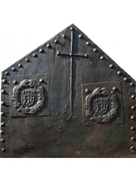 Lastra in ghisa per camino francese datata 1563 asimmetrico