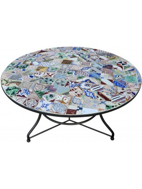 Wrought iront round Ø125cms table with ancient majolica tiles