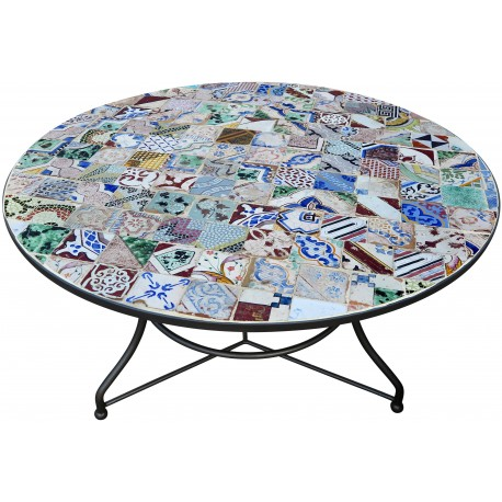 Tavolo in ferro rotondo Ø 120 cm con piastrelle ANTICHE di maiolica