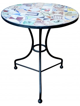 Wrought iront round Ø60cms table with ancient majolica tiles