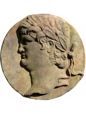Round bas-relief of Nero in terracotta