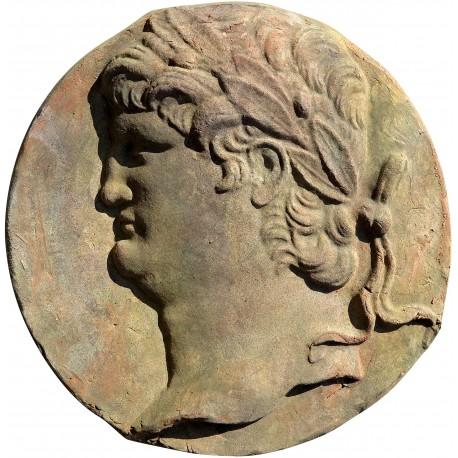 Round bas-relief of Nero in terracotta