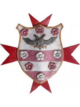 Majolica coat of arms with Malta cross and biceps eagle