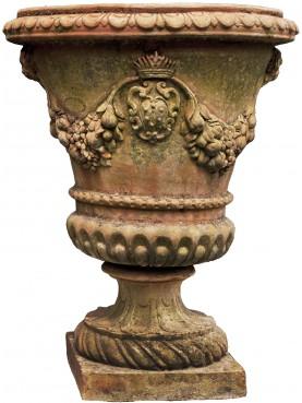 Grande vaso mediceo a calice in terracotta