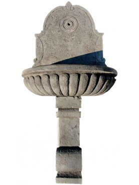 Fontana da muro in pietra arenaria grigia serena