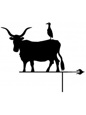 Maremma breed cow with cattle egret - weathervane