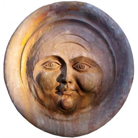 Victorian moon roundel terracotta bas-relief