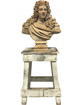 Bust of Louis XIV of France, Sun King (le Roi Soleil) - terracotta bust