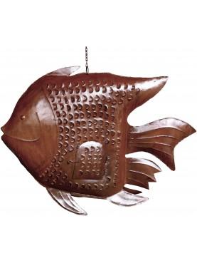 Grande Lanterna in ferro pesce portacandela