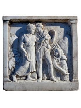 "Reproduction of Roman tile ""Harvest"" white Carrara marble"