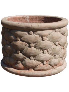 Cachepot in terracotta cilindrico trapuntato