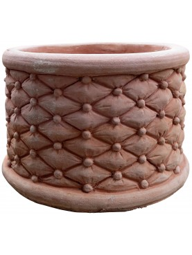 Quilted cylindrical terracotta cachepot big