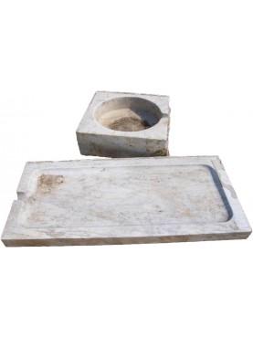 Lavandino ligure originale marmo bianco di Carrara con gocciolatoio