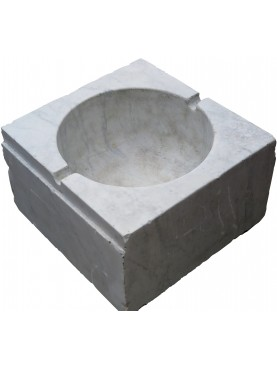 Square Big Ligurian sink in white Carrara marble