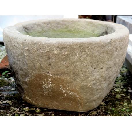 Mortaio rotondo in pietra arenaria grigia lavandino antico
