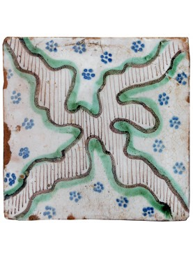 Majolica Tile with Cross white green