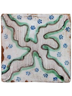 Piastrella Antica Maiolicata Croce Mossa Verde Bianca