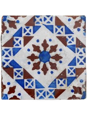 Piastrella antica maiolicata Blu Manganese Bianca