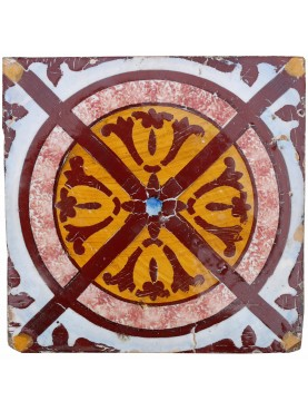 Majolica Tile with central brown circle
