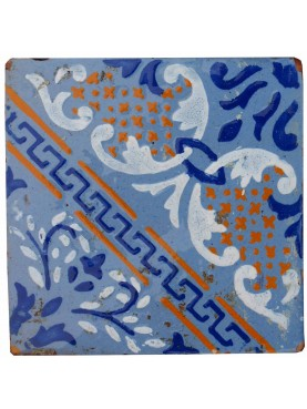 Majolica Tile Blue with yellow ocre details