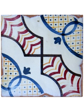 Majolica tile red, blue, manganese and white