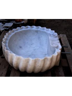 White Carrara marble shell sink