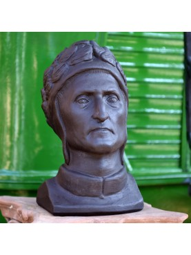 Dante Alighieri, terracotta head - dark patina