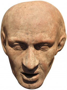 Collection of nine medieval dead masks in terracotta from Tuscany