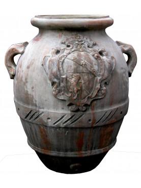 Orcio da olio toscano con stemma Ginori terracotta
