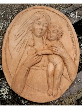 "Terracotta oval basrelief ""Madonna with child"" hand made"